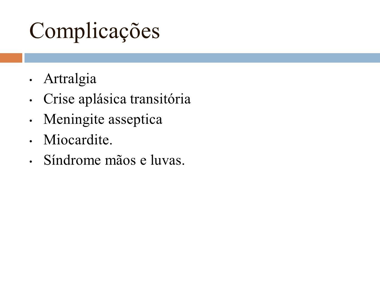 Complicações Artralgia Crise aplásica transitória Meningite asseptica Miocardite. Síndrome mãos e luvas.