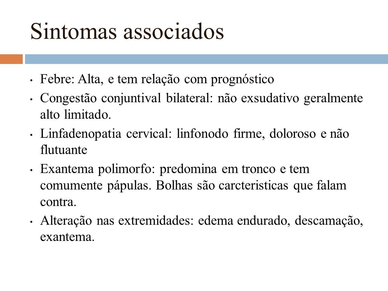 Sintomas associados Febre: Alta, e tem relação com prognóstico Congestão conjuntival bilateral: não exsudativo geralmente alto limitado. Linfadenopati