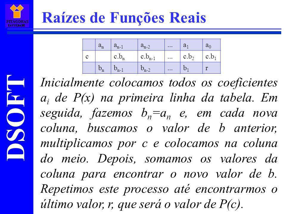 DSOFT Raízes de Funções Reais Inicialmente colocamos todos os coeficientes a i de P(x) na primeira linha da tabela. Em seguida, fazemos b n =a n e, em