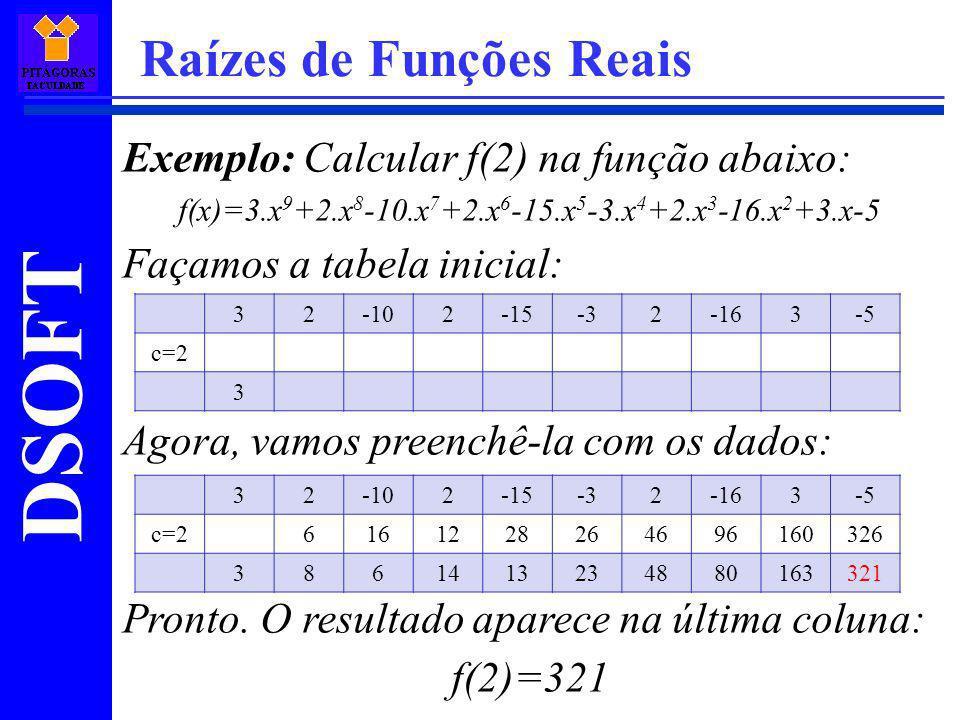 DSOFT Raízes de Funções Reais Exemplo: Calcular f(2) na função abaixo: f(x)=3.x 9 +2.x 8 -10.x 7 +2.x 6 -15.x 5 -3.x 4 +2.x 3 -16.x 2 +3.x-5 Façamos a