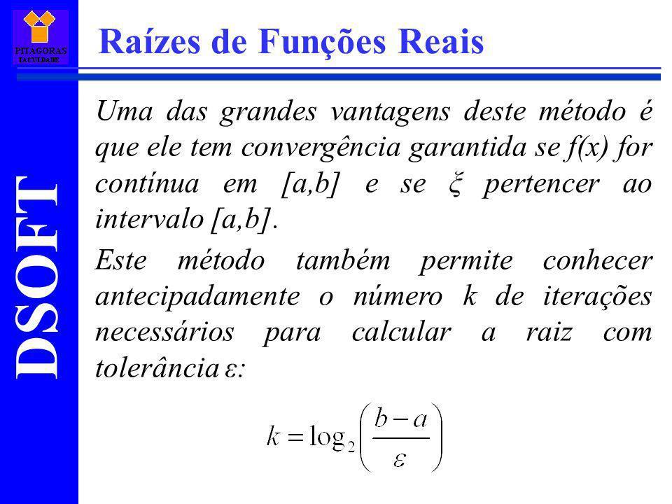 DSOFT Raízes de Funções Reais Uma das grandes vantagens deste método é que ele tem convergência garantida se f(x) for contínua em [a,b] e se ξ pertenc