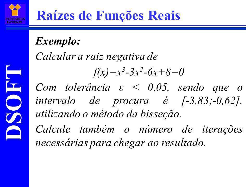 DSOFT Raízes de Funções Reais Exemplo: Calcular a raiz negativa de f(x)=x 3 -3x 2 -6x+8=0 Com tolerância ε < 0,05, sendo que o intervalo de procura é