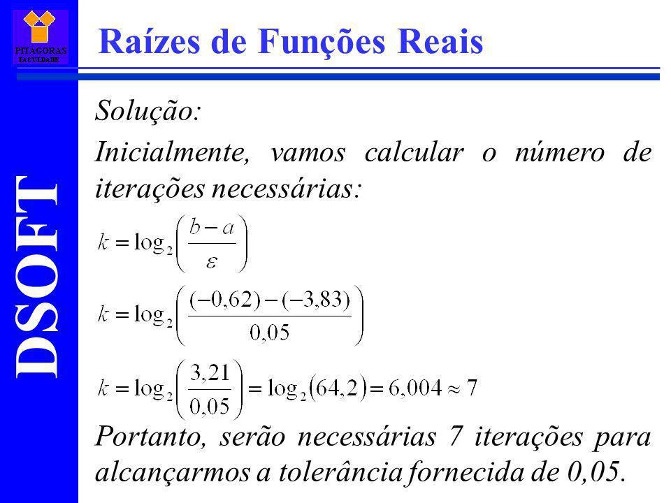DSOFT Raízes de Funções Reais Solução: Inicialmente, vamos calcular o número de iterações necessárias: Portanto, serão necessárias 7 iterações para al