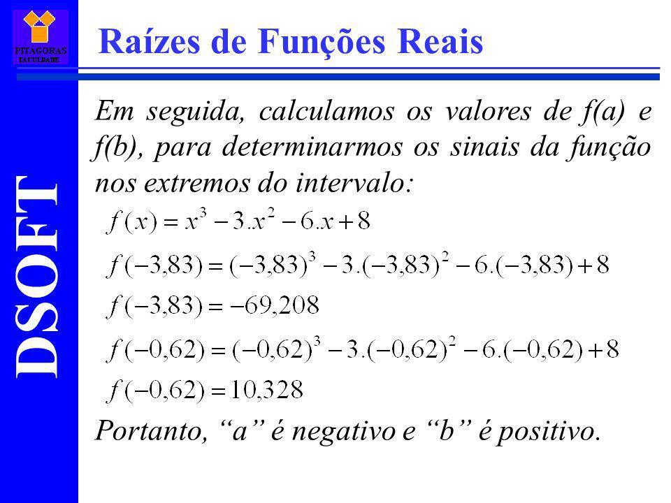 DSOFT Raízes de Funções Reais Em seguida, calculamos os valores de f(a) e f(b), para determinarmos os sinais da função nos extremos do intervalo: Port