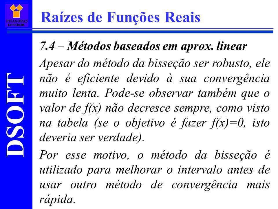 DSOFT Raízes de Funções Reais 7.4 – Métodos baseados em aprox. linear Apesar do método da bisseção ser robusto, ele não é eficiente devido à sua conve