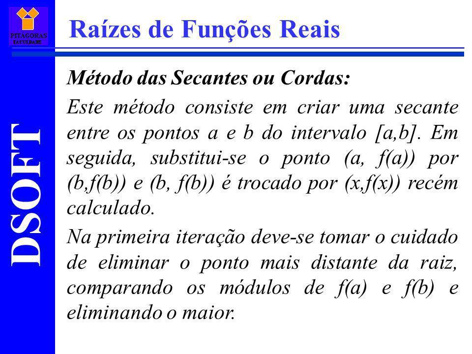 DSOFT Raízes de Funções Reais Método das Secantes ou Cordas: Este método consiste em criar uma secante entre os pontos a e b do intervalo [a,b]. Em se