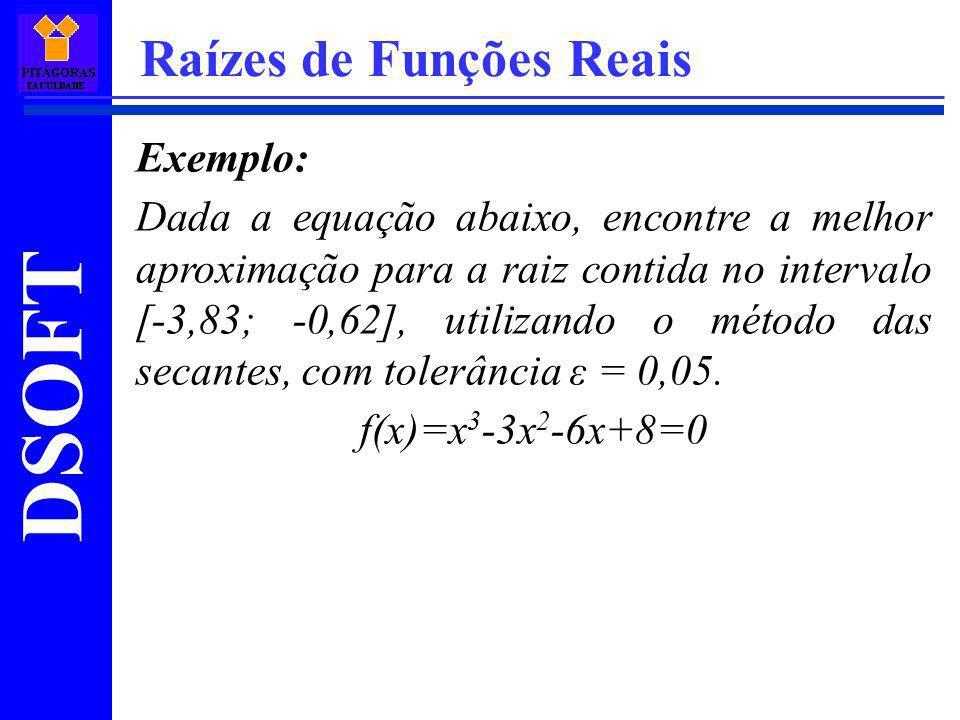DSOFT Raízes de Funções Reais Exemplo: Dada a equação abaixo, encontre a melhor aproximação para a raiz contida no intervalo [-3,83; -0,62], utilizand