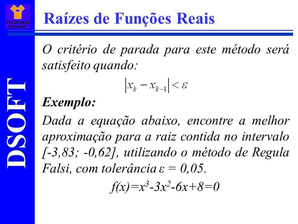 DSOFT Raízes de Funções Reais O critério de parada para este método será satisfeito quando: Exemplo: Dada a equação abaixo, encontre a melhor aproxima