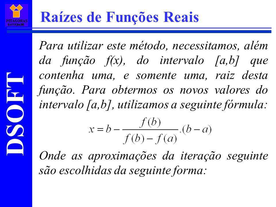 DSOFT Raízes de Funções Reais Para utilizar este método, necessitamos, além da função f(x), do intervalo [a,b] que contenha uma, e somente uma, raiz d