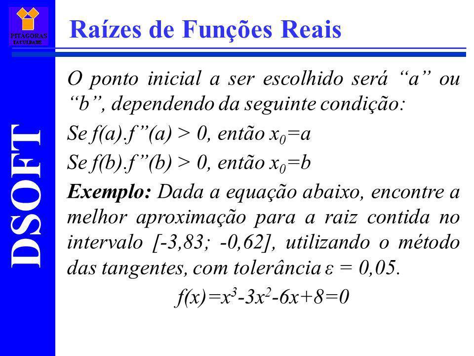 DSOFT Raízes de Funções Reais O ponto inicial a ser escolhido será a ou b, dependendo da seguinte condição: Se f(a).f(a) > 0, então x 0 =a Se f(b).f(b