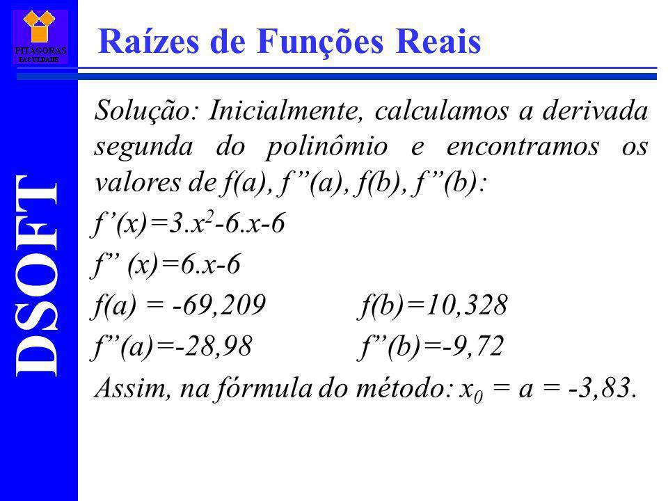 DSOFT Raízes de Funções Reais Solução: Inicialmente, calculamos a derivada segunda do polinômio e encontramos os valores de f(a), f(a), f(b), f(b): f(