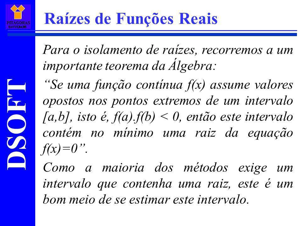 DSOFT Raízes de Funções Reais A equação para cálculo do ponto x é: E o critério de parada: Um detalhe sobre este método é que na região da raiz a função deve ser aproximadamente linear, senão o método falhará.