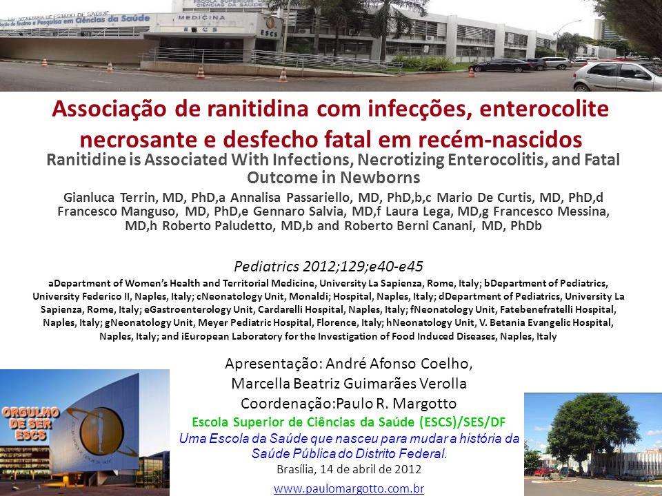 Associação de ranitidina com infecções, enterocolite necrosante e desfecho fatal em recém-nascidos Ranitidine is Associated With Infections, Necrotizi