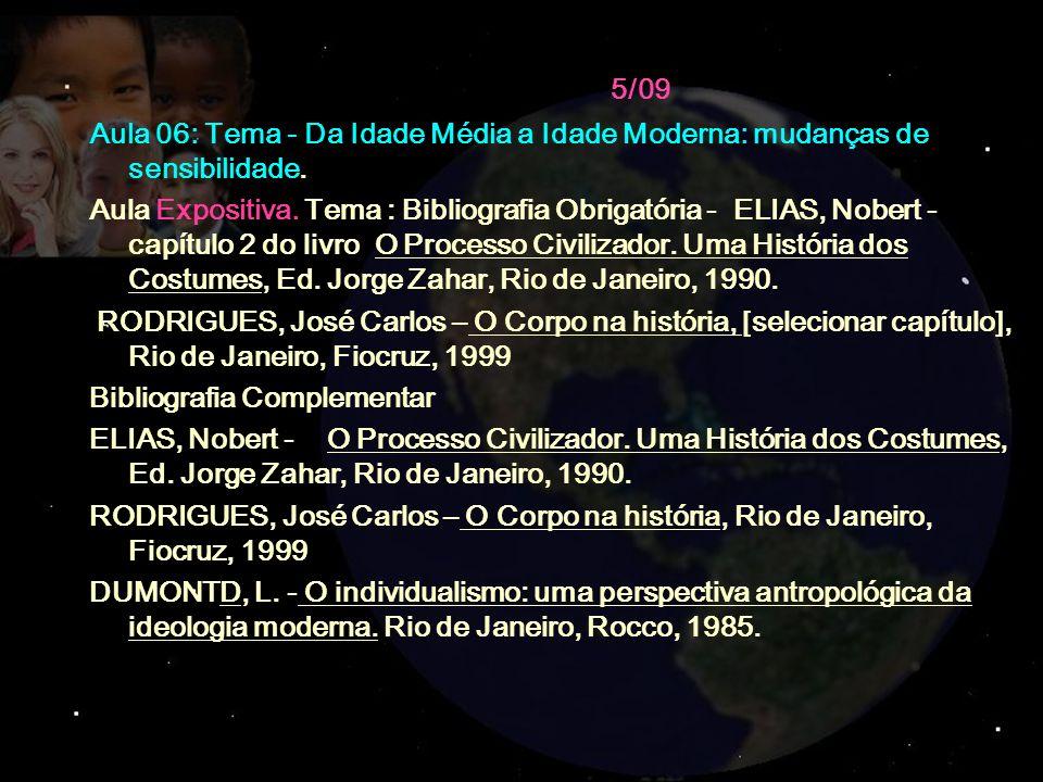 5/09 Aula 06: Tema - Da Idade Média a Idade Moderna: mudanças de sensibilidade. Aula Expositiva. Tema : Bibliografia Obrigatória - ELIAS, Nobert - cap