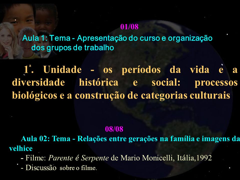 01/08 Aula 1: Tema - Apresentação do curso e organização dos grupos de trabalho 1 ª. Unidade - os períodos da vida e a diversidade histórica e social: