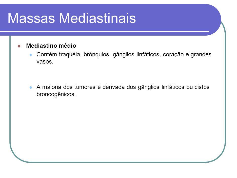 Massas Mediastinais Mediastino médio Contém traquéia, brônquios, gânglios linfáticos, coração e grandes vasos. A maioria dos tumores é derivada dos gâ