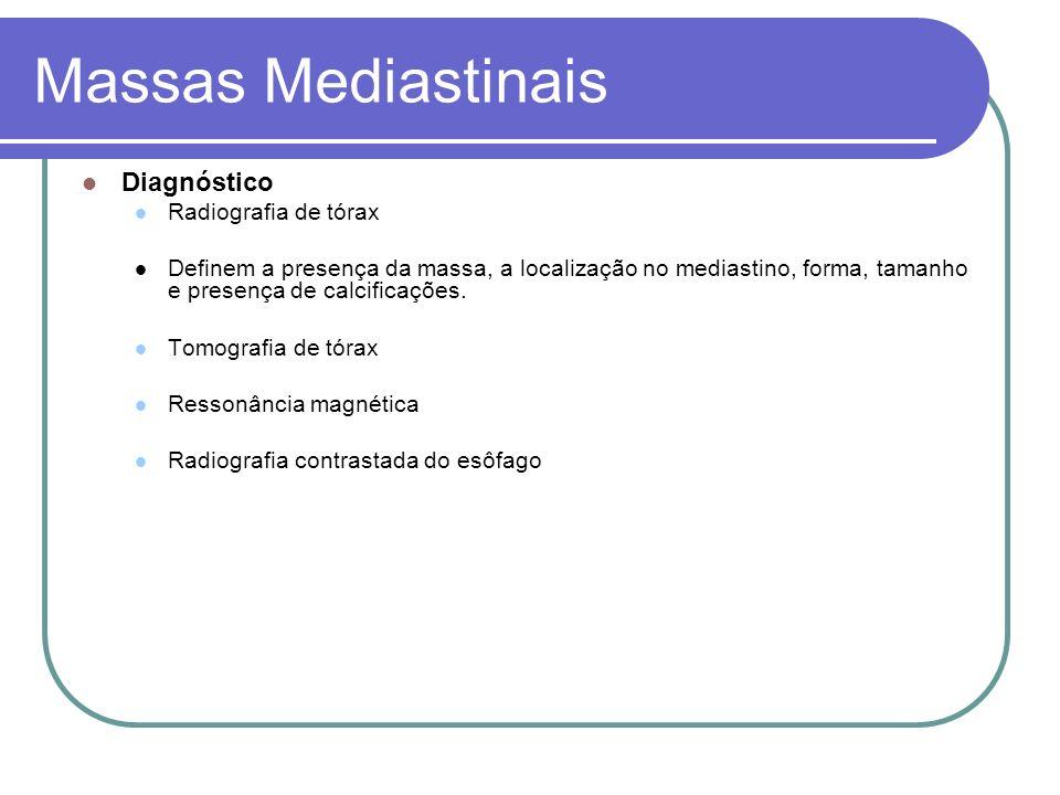 Massas Mediastinais Diagnóstico Radiografia de tórax Definem a presença da massa, a localização no mediastino, forma, tamanho e presença de calcificaç