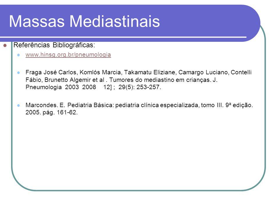 Massas Mediastinais Referências Bibliográficas: www.hinsg.org.br/pneumologia Fraga José Carlos, Komlós Marcia, Takamatu Eliziane, Camargo Luciano, Con