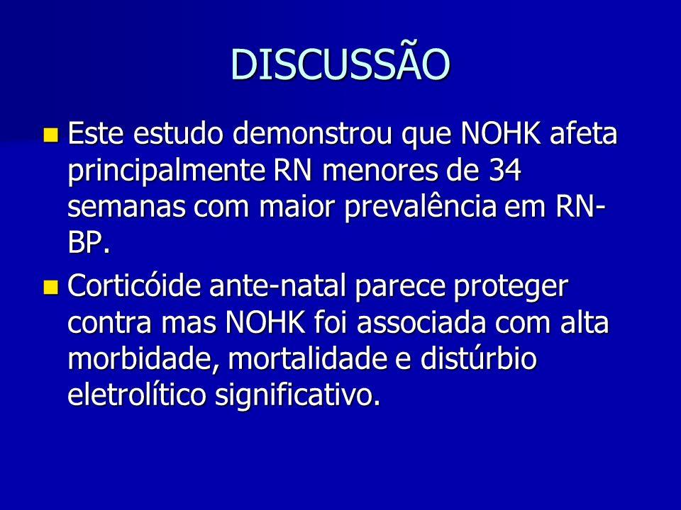DISCUSSÃO Este estudo demonstrou que NOHK afeta principalmente RN menores de 34 semanas com maior prevalência em RN- BP.