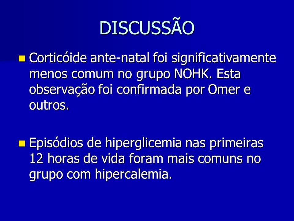 DISCUSSÃO Corticóide ante-natal foi significativamente menos comum no grupo NOHK.