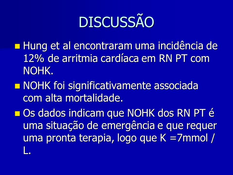 DISCUSSÃO Hung et al encontraram uma incidência de 12% de arritmia cardíaca em RN PT com NOHK.