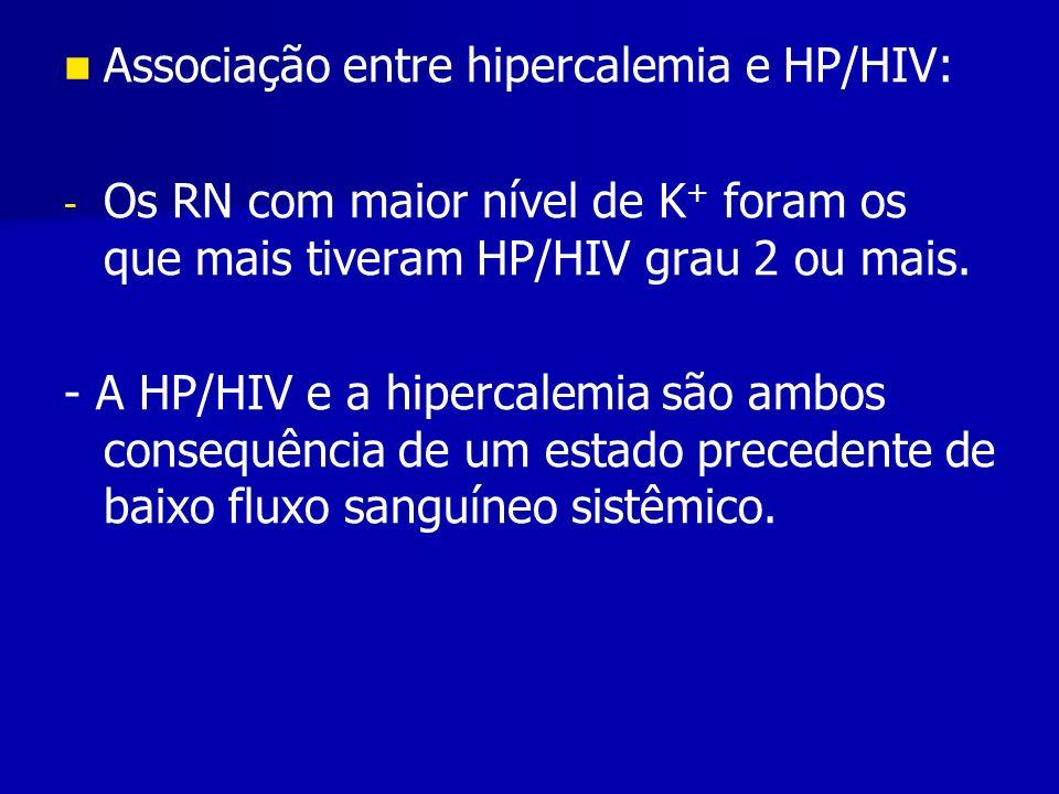 Associação entre hipercalemia e HP/HIV: - - Os RN com maior nível de K + foram os que mais tiveram HP/HIV grau 2 ou mais.