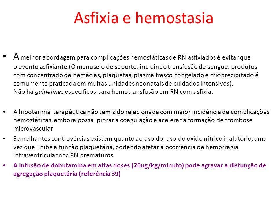 A melhor abordagem para complicações hemostáticas de RN asfixiados é evitar que o evento asfixiante.(O manuseio de suporte, incluindo transfusão de sa