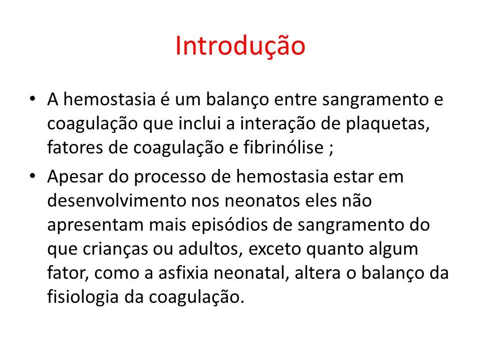 Introdução A hemostasia é um balanço entre sangramento e coagulação que inclui a interação de plaquetas, fatores de coagulação e fibrinólise ; Apesar