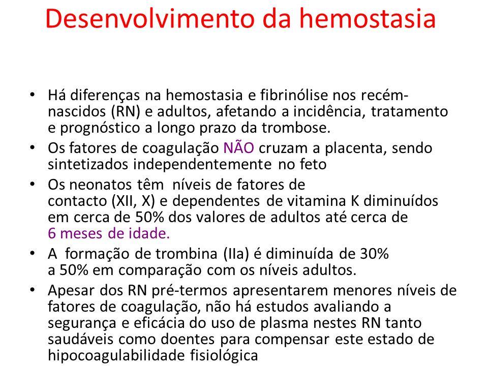 Desenvolvimento da hemostasia Há diferenças na hemostasia e fibrinólise nos recém- nascidos (RN) e adultos, afetando a incidência, tratamento e prognó