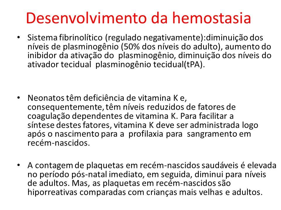 Sistema fibrinolítico (regulado negativamente):diminuição dos níveis de plasminogênio (50% dos níveis do adulto), aumento do inibidor da ativação do p