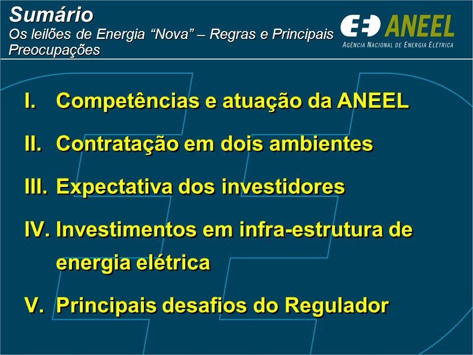 Sumário Os leilões de Energia Nova – Regras e Principais Preocupações Sumário Os leilões de Energia Nova – Regras e Principais Preocupações I.Competên