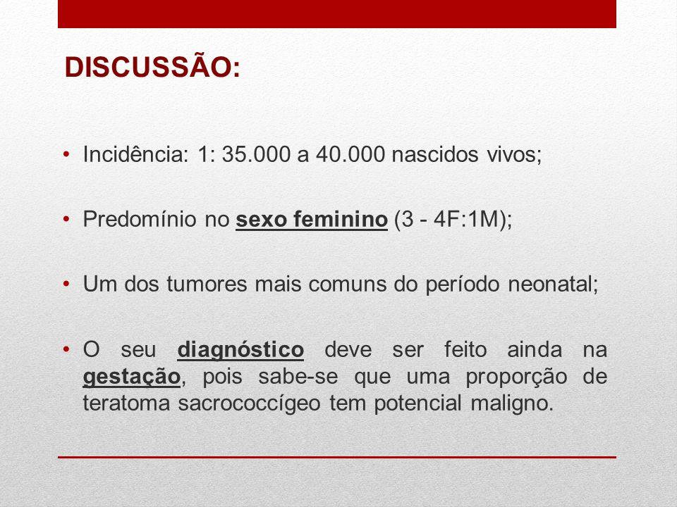 Incidência: 1: 35.000 a 40.000 nascidos vivos; Predomínio no sexo feminino (3 - 4F:1M); Um dos tumores mais comuns do período neonatal; O seu diagnóst