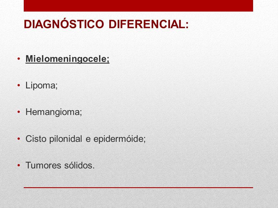 DIAGNÓSTICO DIFERENCIAL: Mielomeningocele; Lipoma; Hemangioma; Cisto pilonidal e epidermóide; Tumores sólidos.