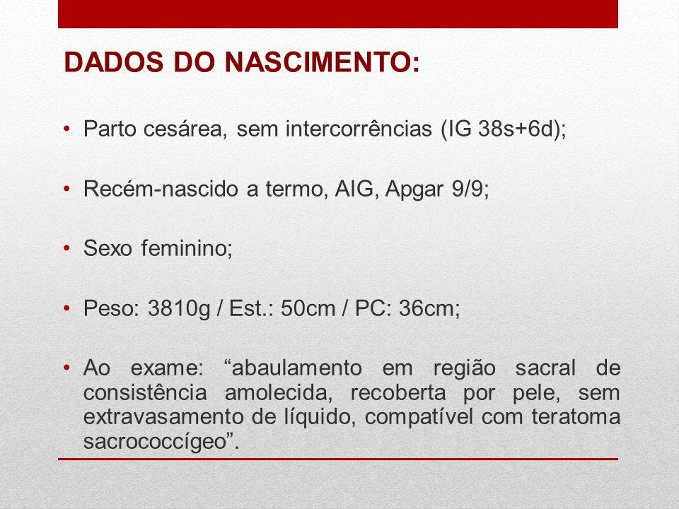 Parto cesárea, sem intercorrências (IG 38s+6d); Recém-nascido a termo, AIG, Apgar 9/9; Sexo feminino; Peso: 3810g / Est.: 50cm / PC: 36cm; Ao exame: a