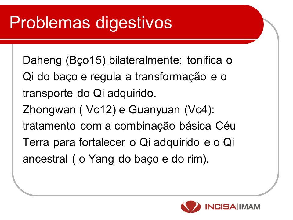 Problemas digestivos Daheng (Bço15) bilateralmente: tonifica o Qi do baço e regula a transformação e o transporte do Qi adquirido. Zhongwan ( Vc12) e