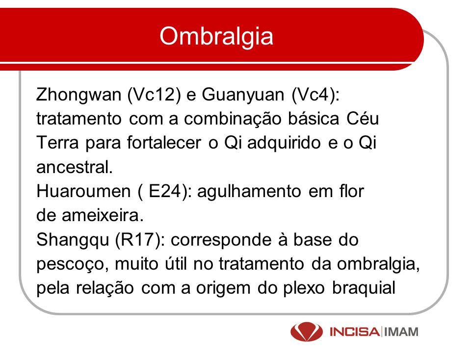 Ombralgia Zhongwan (Vc12) e Guanyuan (Vc4): tratamento com a combinação básica Céu Terra para fortalecer o Qi adquirido e o Qi ancestral. Huaroumen (