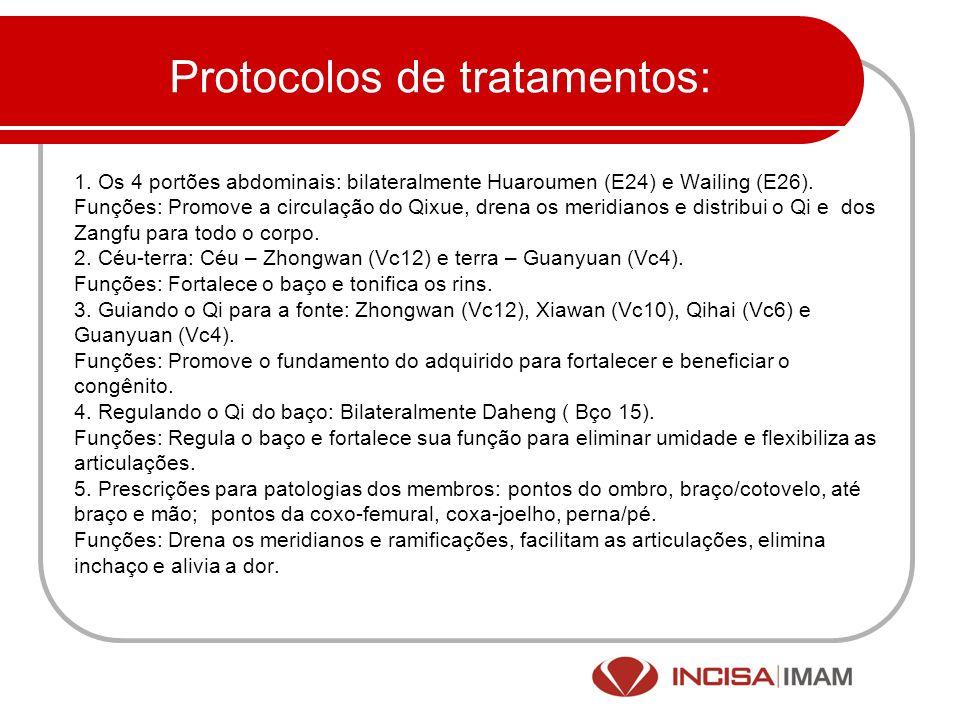 Protocolos de tratamentos: 1. Os 4 portões abdominais: bilateralmente Huaroumen (E24) e Wailing (E26). Funções: Promove a circulação do Qixue, drena o