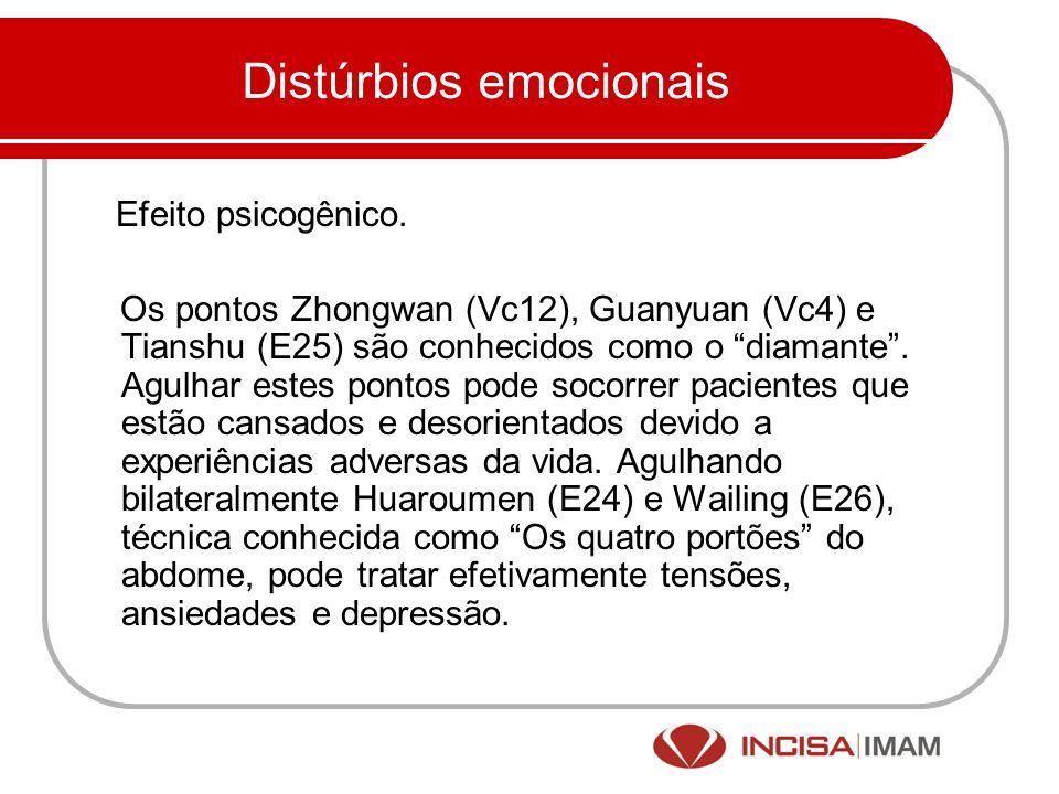 Distúrbios emocionais Efeito psicogênico. Os pontos Zhongwan (Vc12), Guanyuan (Vc4) e Tianshu (E25) são conhecidos como o diamante. Agulhar estes pont