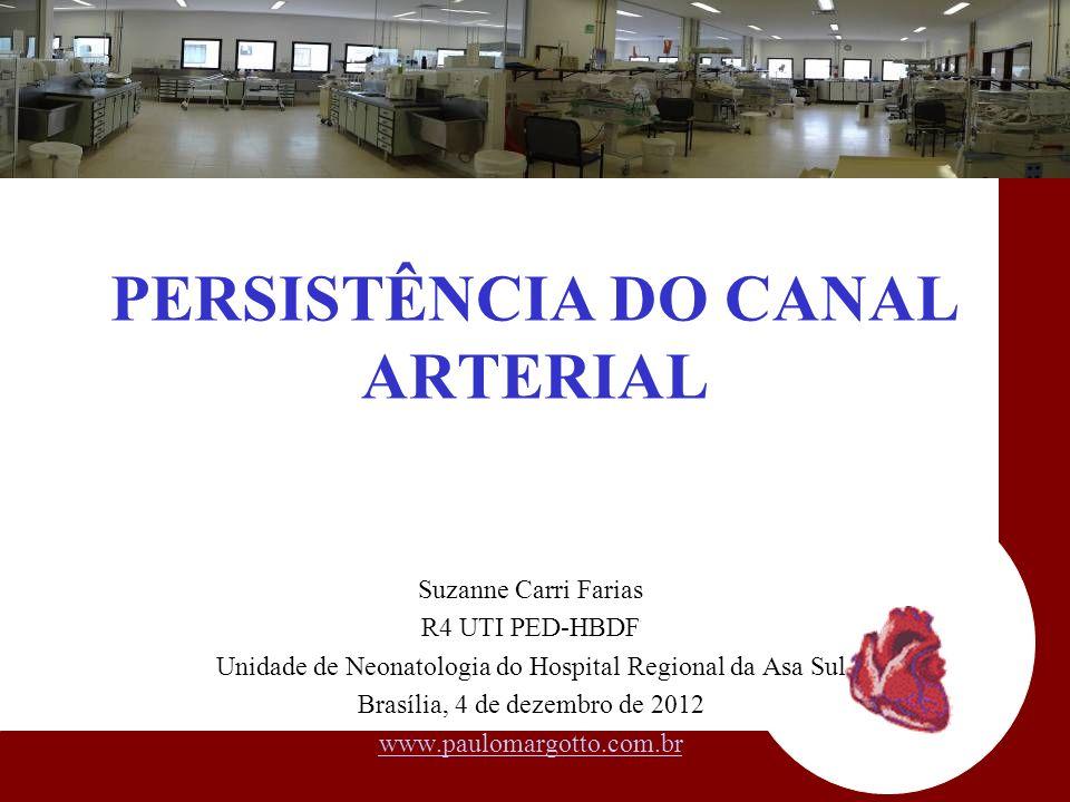 PERSISTÊNCIA DO CANAL ARTERIAL Suzanne Carri Farias R4 UTI PED-HBDF Unidade de Neonatologia do Hospital Regional da Asa Sul Brasília, 4 de dezembro de