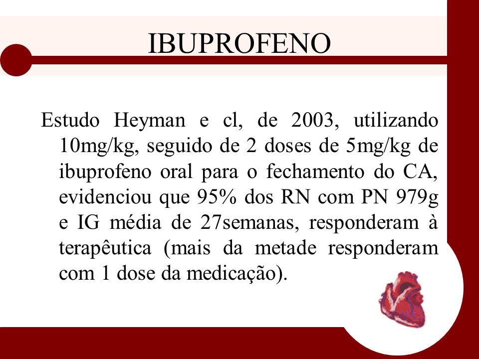 IBUPROFENO Estudo Heyman e cl, de 2003, utilizando 10mg/kg, seguido de 2 doses de 5mg/kg de ibuprofeno oral para o fechamento do CA, evidenciou que 95