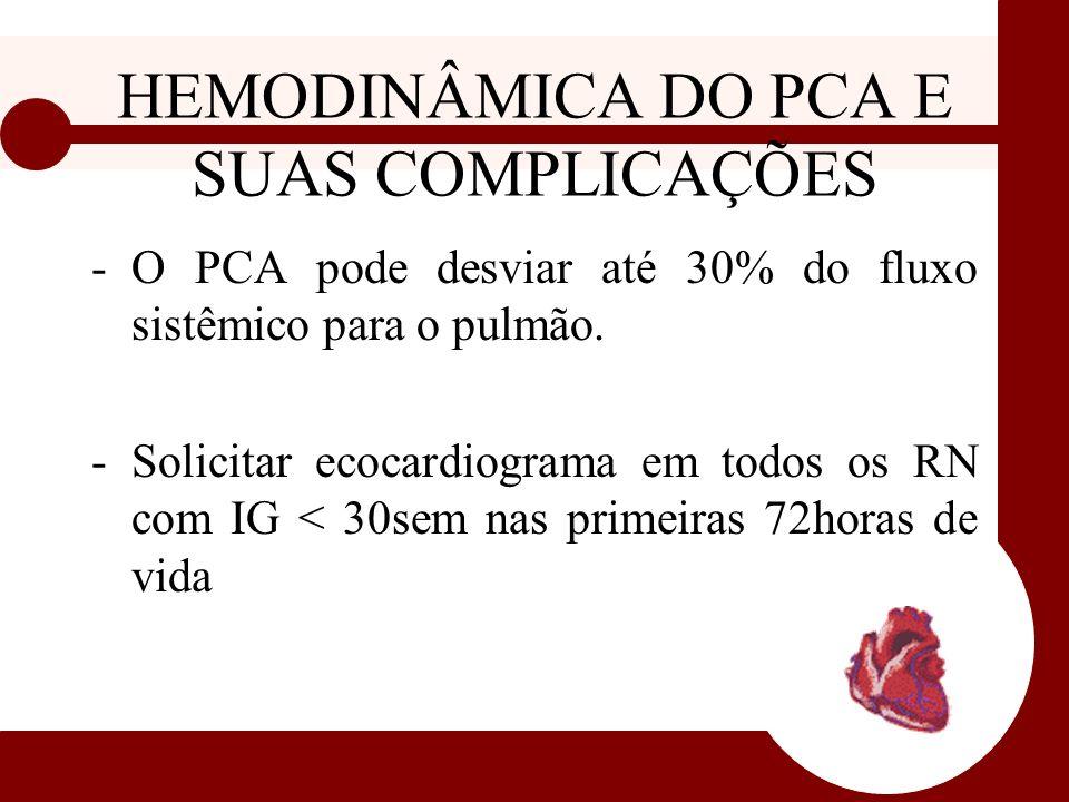 HEMODINÂMICA DO PCA E SUAS COMPLICAÇÕES -O PCA pode desviar até 30% do fluxo sistêmico para o pulmão. -Solicitar ecocardiograma em todos os RN com IG