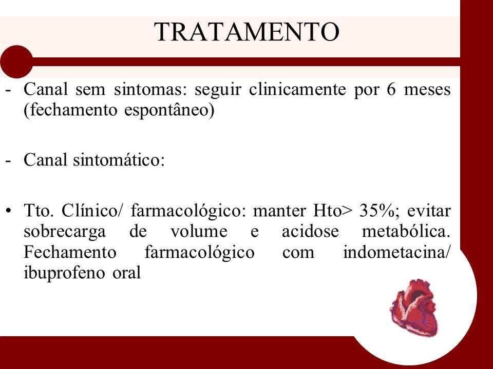 TRATAMENTO -Canal sem sintomas: seguir clinicamente por 6 meses (fechamento espontâneo) -Canal sintomático: Tto. Clínico/ farmacológico: manter Hto> 3
