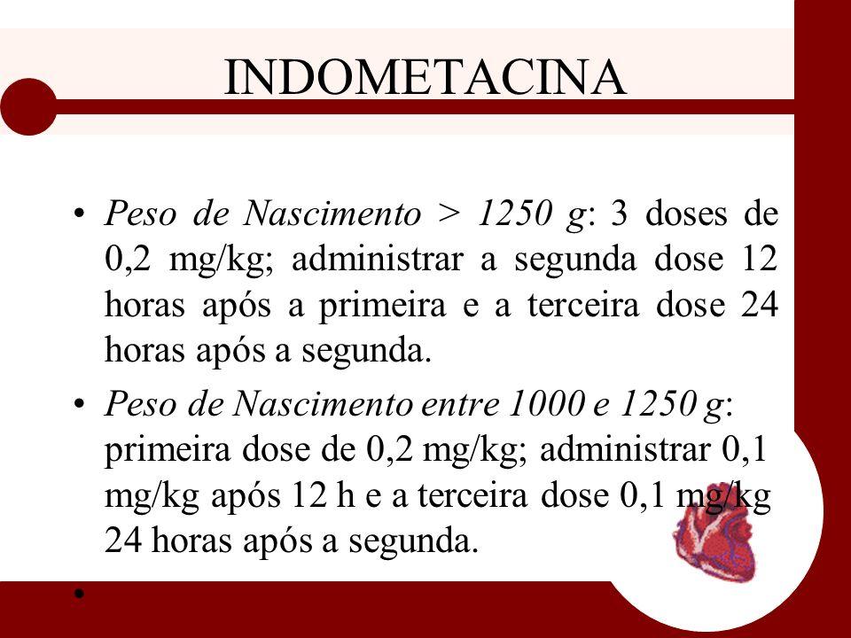 INDOMETACINA Peso de Nascimento > 1250 g: 3 doses de 0,2 mg/kg; administrar a segunda dose 12 horas após a primeira e a terceira dose 24 horas após a