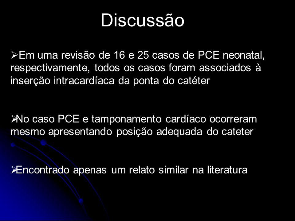 Discussão Em uma revisão de 16 e 25 casos de PCE neonatal, respectivamente, todos os casos foram associados à inserção intracardíaca da ponta do catét