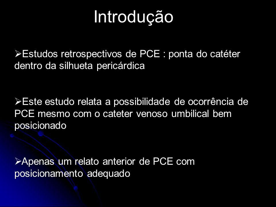 Introdução Estudos retrospectivos de PCE : ponta do catéter dentro da silhueta pericárdica Este estudo relata a possibilidade de ocorrência de PCE mes