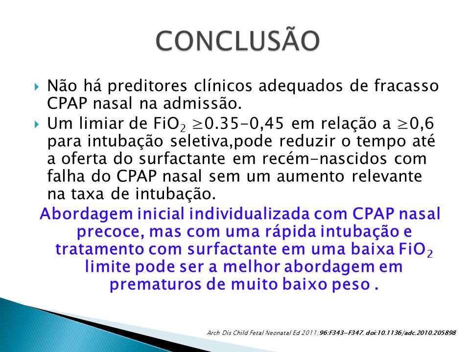 Não há preditores clínicos adequados de fracasso CPAP nasal na admissão. Um limiar de FiO 2 0.35-0,45 em relação a 0,6 para intubação seletiva,pode re
