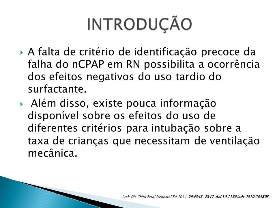 A falta de critério de identificação precoce da falha do nCPAP em RN possibilita a ocorrência dos efeitos negativos do uso tardio do surfactante. Além