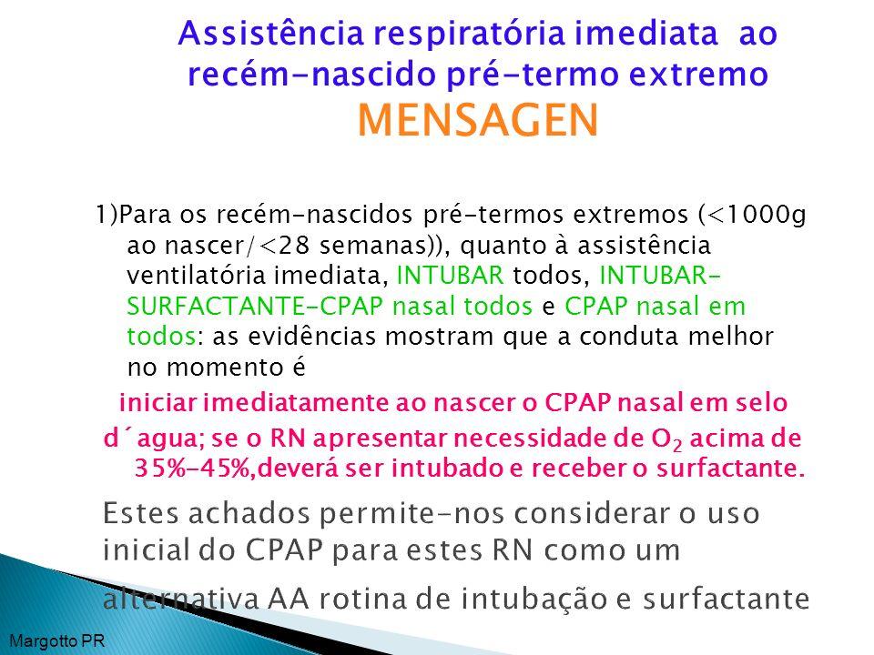 Estes achados permite-nos considerar o uso inicial do CPAP para estes RN como um alternativa AA rotina de intubação e surfactante 1)Para os recém-nasc
