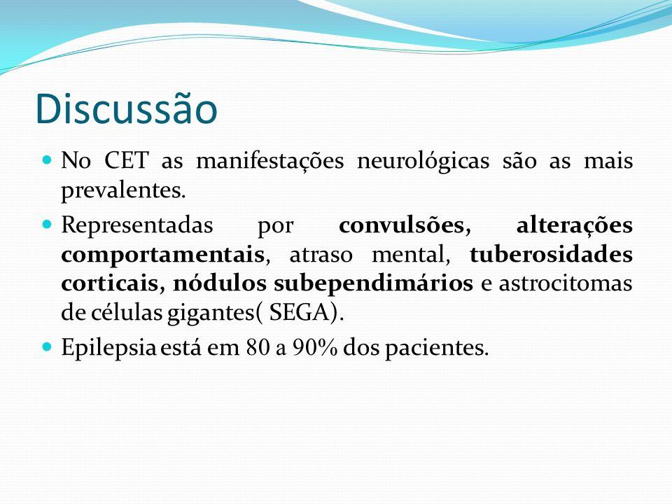 Discussão No CET as manifestações neurológicas são as mais prevalentes. Representadas por convulsões, alterações comportamentais, atraso mental, tuber