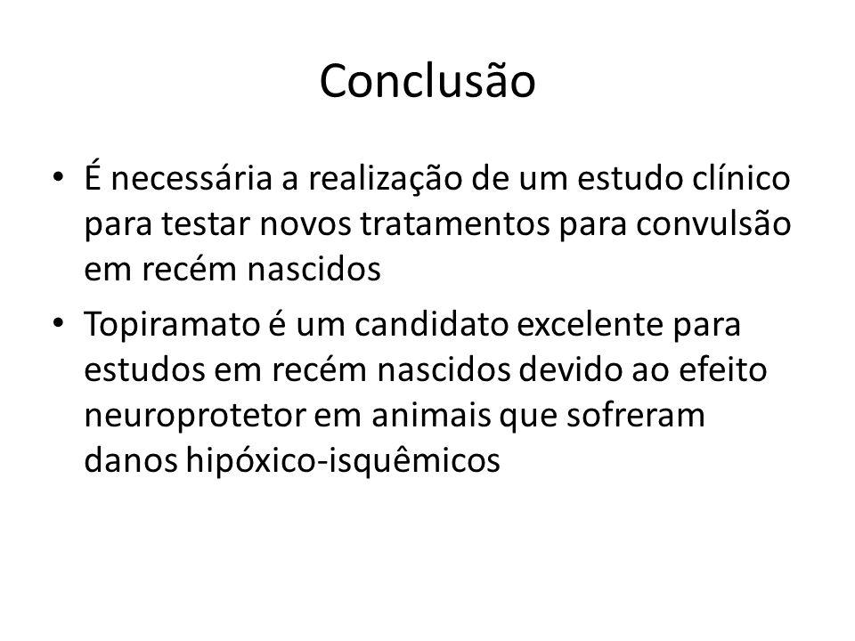 Conclusão É necessária a realização de um estudo clínico para testar novos tratamentos para convulsão em recém nascidos Topiramato é um candidato excelente para estudos em recém nascidos devido ao efeito neuroprotetor em animais que sofreram danos hipóxico-isquêmicos